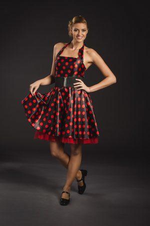 Fekete-piros női rocky ruha - Szalagavató Központ