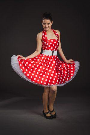 Piros-fehér női rocky ruha - Szalagavató Központ